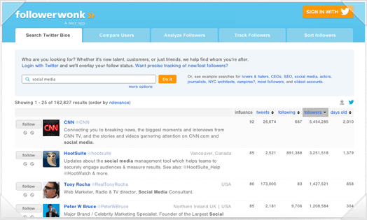Followerwonk: Tools for Twitter Analytics, Bio Search and More